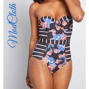 ModCloth The Harper One-Piece Strapless Swimsuit